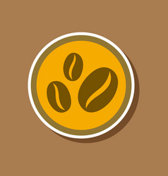 Paper sticker on stylish background beans coffee vector