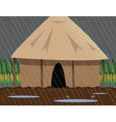 rainy village vector image