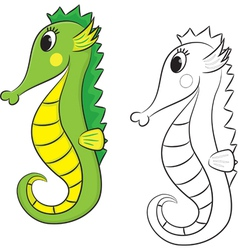 sea horse coloring book vector image vector image