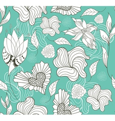 seamless doodle flowers and hearts pattern vector image vector image