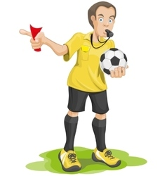 Soccer referee whistles and shows red card vector