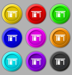 Table icon sign symbol on nine round colourful vector image