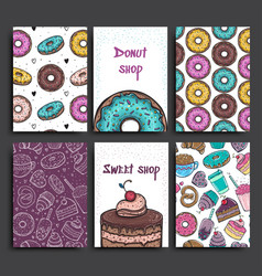two posters template with donuts and pie vector image vector image