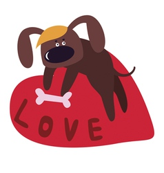 Valentine design with cute dog cartoon character vector