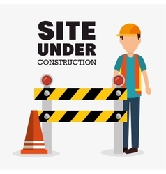 Worker cartoon site under construction vector