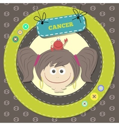 Zodiac signs collection Cute horoscope - CANCER vector image
