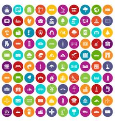 100 landscape element icons set color vector