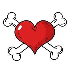 Love and bone heart and crossbones emblem for vector