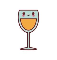 Kawaii love glass cup champagne valentine vector