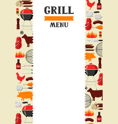 bbq menu background with grill objects and icons vector image