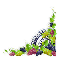 Vintage frame with grapes vector