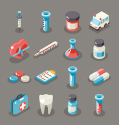 Isometric 3d sign health medical hospital vector