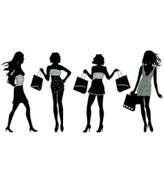 Shopping silhouettes vector