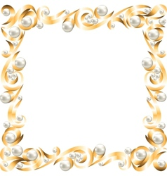 Golden jewelry frame vector