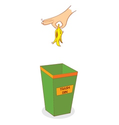 Hand above trashbin vector