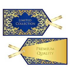 Luxury blue price tag with golden vintage pattern vector