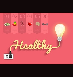 Healthy ideas concept creative light bulb design vector image