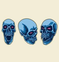 Scary skull set vector