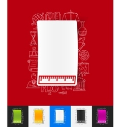 Ruler paper sticker with hand drawn elements vector
