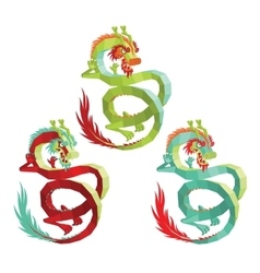 Set of Polygonal Chinese Dragons vector image