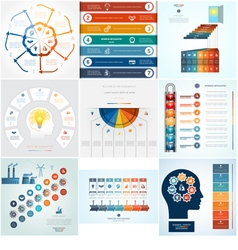 Set 9 templates infographic 7 positions vector