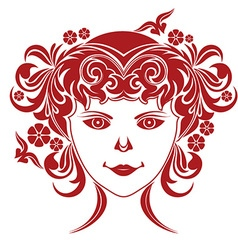 A girls face with a floral wreath vector