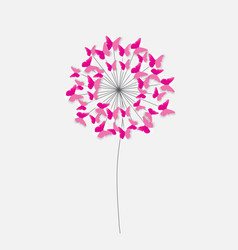 Abstract paper cut out butterfly flower background vector