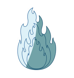 Blue shading silhouette of flame in closeup vector