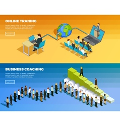 Business Education Isometric Horizontal Banners vector image