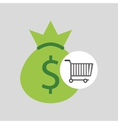 buying cart bag money dollar design vector image