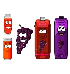 Cartoon grape juice glasses and fruit characters vector image vector image