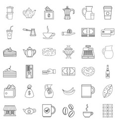 cezve icons set outline style vector image vector image
