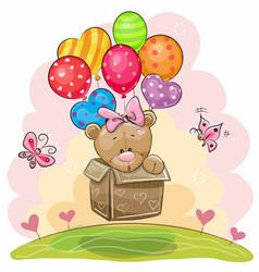 cute teddy bear girl with balloons vector image vector image