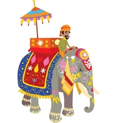Decorated elephant at an indian festival vector