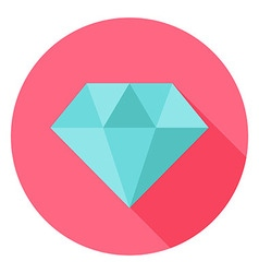 Diamond jewelry circle icon with long shadow vector