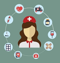 Doctor nurse concept flat icons set hospital vector