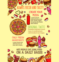 Fast food lunch dishes sketch poster template vector