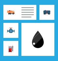 Flat icon fuel set of petrol van flange and vector