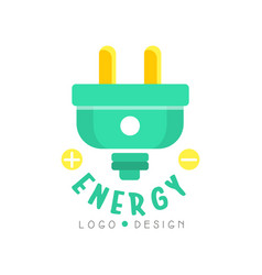 flat original logo design with electric plug eco vector image