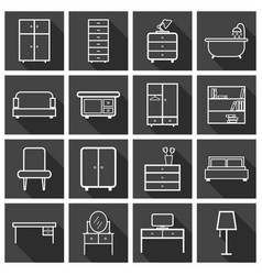 furniture icons set flat on black background vector image
