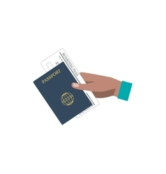 Human hand holding boarding pass and passport vector