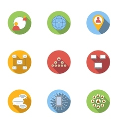 Internet connection icons set flat style vector