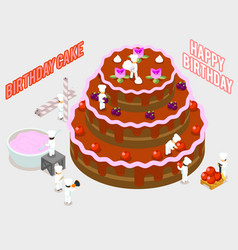 Isometric people decorate a birthday cake vector