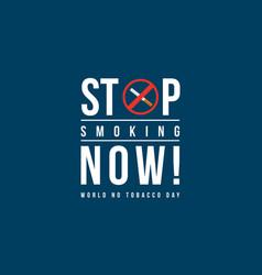 no smoking world no tobacco day banner vector image vector image