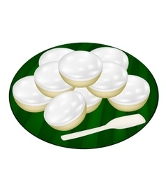 Pile of Coconut Puddings on Banana Leaf vector image