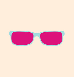 pink glasses on a yellow background vector image vector image