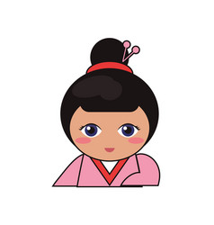 portrait doll lovely kokeshi vector image