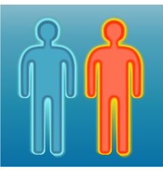Red and blue human silhouette vector image vector image
