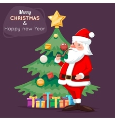 Santa claus character icon christmas tree vector
