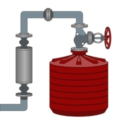 Scheme with water tank and pipes vector image vector image